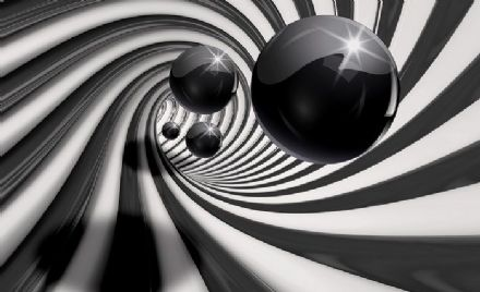 Black tunel & sphere wall mural wallpaper